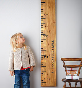 'Kids Rule' Wooden Ruler Height Chart Mid Oak - baby & child