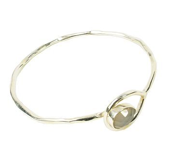 Silver Gem Bangle With Grey Chalcedony Stone