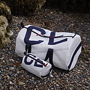 Personalised Kit bag and washbag in sailcloth