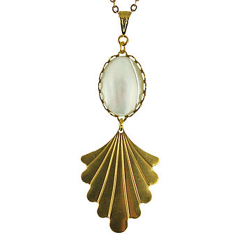 Mother Of Pearl Fan Necklace