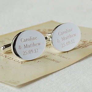 Personalised Oval Cufflinks - 25th anniversary: silver