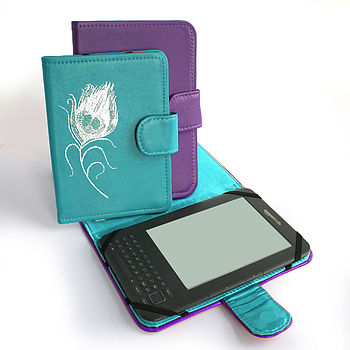Leather Peacock Feather Cover For Kindle