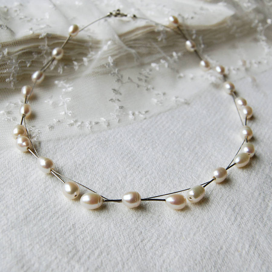 on cultured freshwater pearl neoprene products necklace unisex