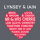 Personalised Wedding Heart - Dark Grey and Red