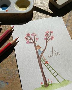 Personalised Girls Blossom Name Painting - wedding thank you gifts