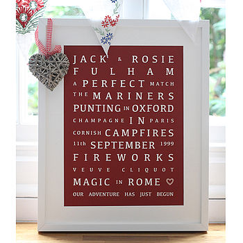 Personalised Valentines 'Memories' Print