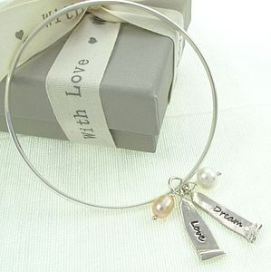 Personalised Ancient Scroll Word Charm Bangle - bracelets & bangles
