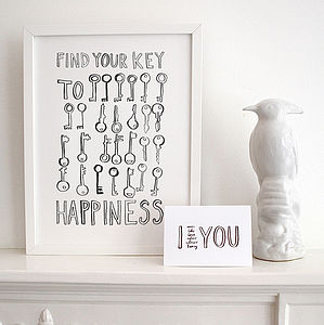 'Find Your Key To Happiness' Print - prints & art sale