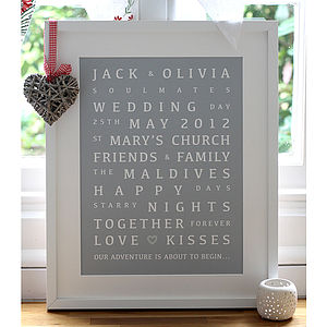 Personalised Wedding Memories Print