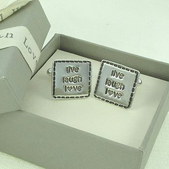 Live Laugh Love Stitched Mens Cufflinks