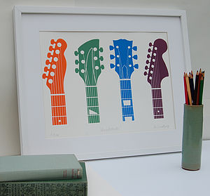 Guitar Headstocks Limited Edition Print - contemporary art