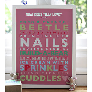 Personalised Child's 'Loves' Print