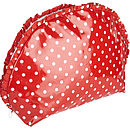 Polka Dot Oilcloth Toiletry Bag In Red