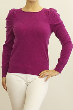 Pleated Sleeve Boat Neck Jumper