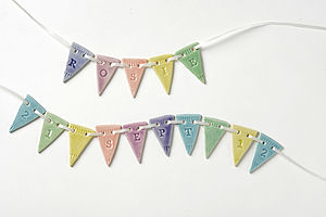 Personalised Porcelain Baby Birthdate Bunting - new baby gifts