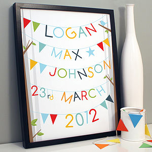 Personalised Bunting Birth Print - pictures & prints for children