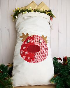 Personalised Santa Sack With Rudolph - stockings & sacks