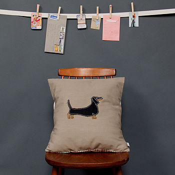 Embroidered Cushion Dachshund