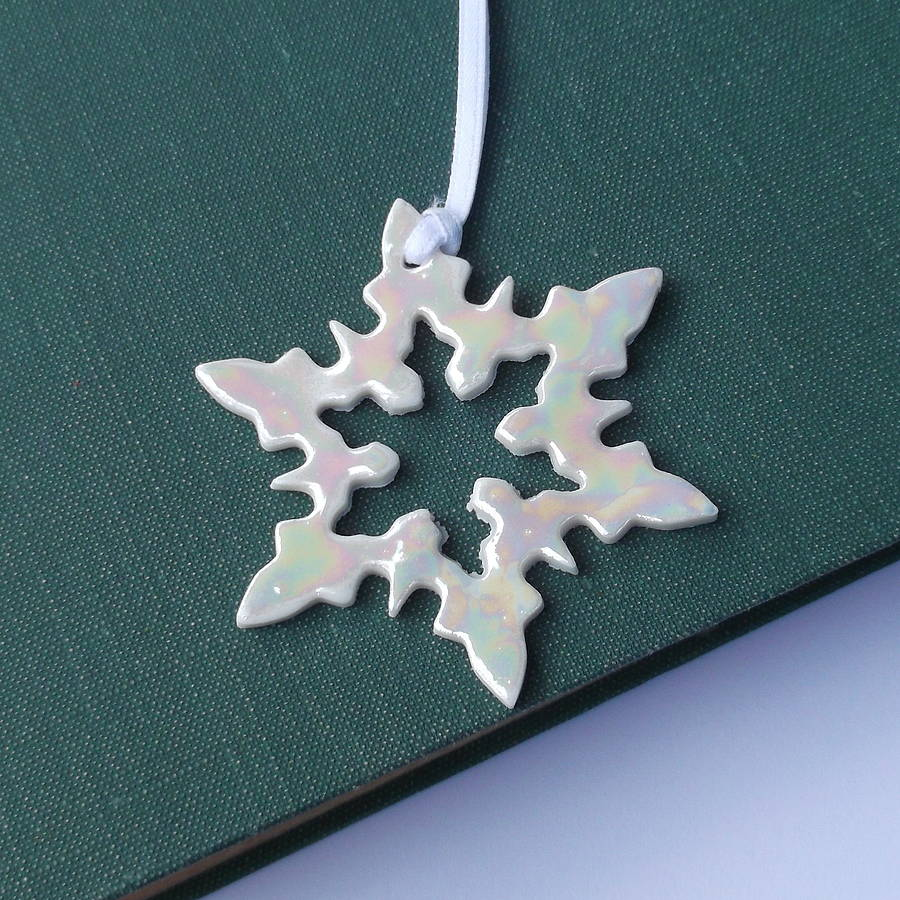 porcelain mother of pearl snowflake christmas decoration