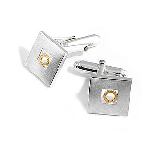 Silver Cufflinks With Gold Circle - cufflinks