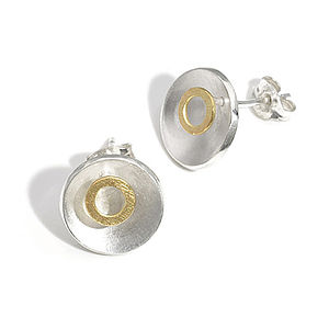 Silver And Gold Circle Stud Earrings - earrings