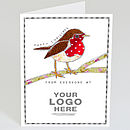 personalised business christmas robin card