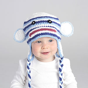 Child's Handmade Blue Monkey Hat