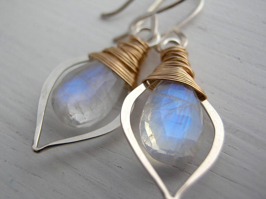 white jewelry grey victorian elm earrings moon moonstone sterling handcrafted stone beadwork iris silver rainbow black gemstone