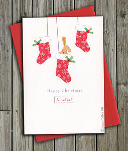 Personalised Christmas Card: Bunny In Christmas Stocking - cards & wrap