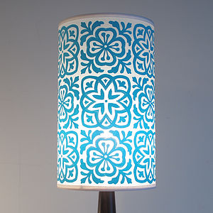 Moroccan Tile Long Drum Lampshade - wanderlust bedroom