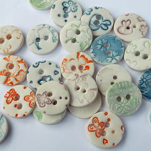 Five Porcelain Round Buttons - table decorations