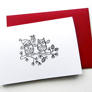 Five Hand Printed Owl Christmas Cards - cards & wrap