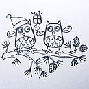 Pack Of Hand Printed Owl Christmas Cards
