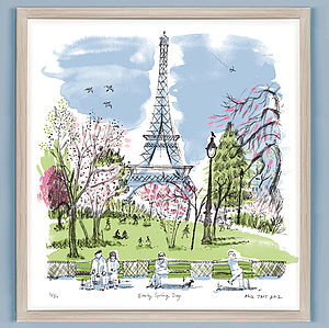 Alice Tait 'Early Spring Day, Paris' Screen Print - architecture & buildings