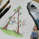 Personalised Boy And Tree Name Painting