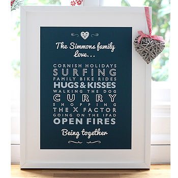 Personalised Family Loves Art Print