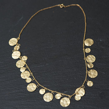 Gold Disc Hammered Necklace