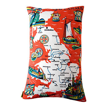 UK Map Bargeware Upcycled Vintage Cushion