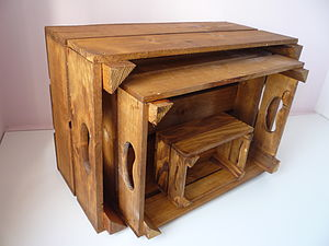 Vintage Style Nest Of Three Crates - furniture