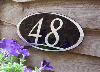 Stainless Steel Oval House Number Plaque