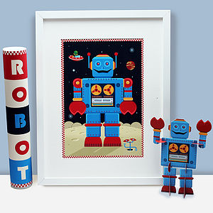 Big Blue Robot Print Gift Pack