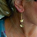 Gold Butterfly Drop Earrings