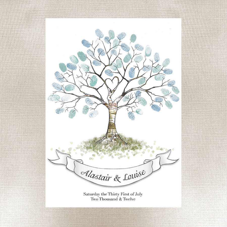 Hot Summer Bargains on Fingerprint Tree, Wedding Guest Book ...