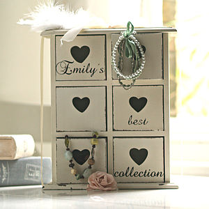 Personalised Jewellery Heart Drawers Chest - storage