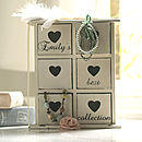 Thumb personalised jewellery heart drawers chest