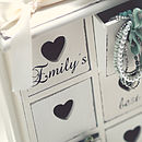 Personalised Jewellery Heart Drawers Chest