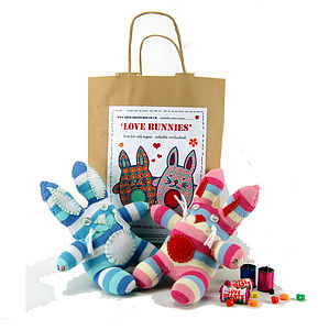 Love Bunnies Sock Creature Craft Kit - creative kits & experiences