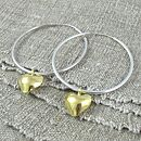 Everlasting Gold Heart Charm Hoop Earrings