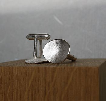 Handmade Silver Pebble Cufflinks