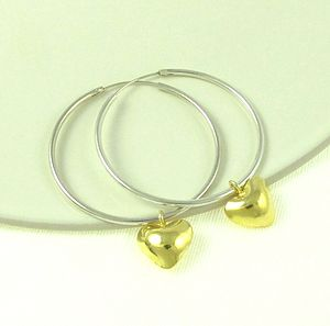 Everlasting Gold Heart Charm Hoop Earrings - earrings